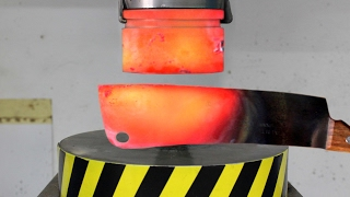 EXPERIMENT Glowing 1000 degree HYDRAULIC PRESS 100 TON vs Glowing 1000 degree MEAT CHOPPER