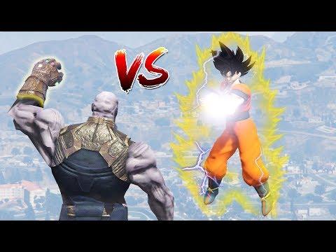 GTA 5 MODS : GOKU FROM DRAGON BALL Z (Goku vs Thanos fight !)
