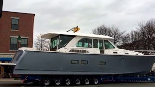 Sabre Yacht 66 with Siebert Yacht Management Rockland ME boat move through town