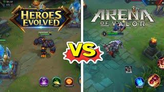 Heroes Evolved  VS. Arena Of Valor || Side by Side graphics comparison