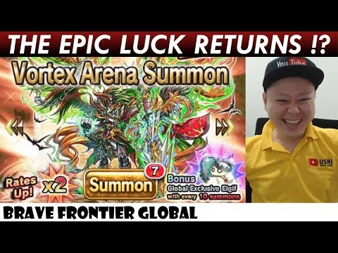 The Epic Luck Returns!? Earth Vortex Arena Unit Dranoel Rare Summon (Brave Frontier Global)