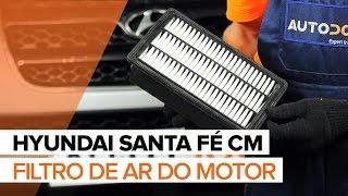 Como substituir a filtro de ar do motor no HYUNDAI SANTA FÉ CM [TUTORIAL]