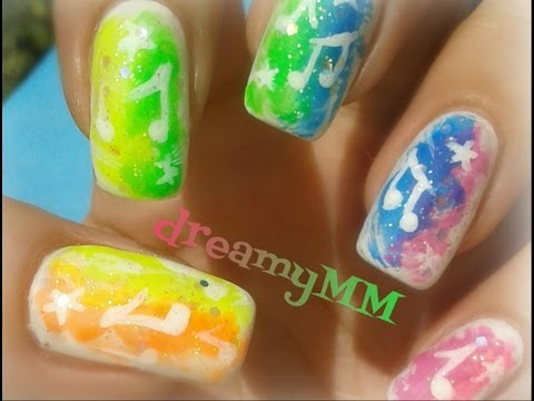 Rainbow Music Notes Nail Art Tutorial