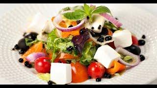 Греческий салат с бальзамическим жемчугом | Маргарита и мастера