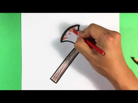 How to Draw Halloween Ax - Easy Pictures to Draw for Beginners