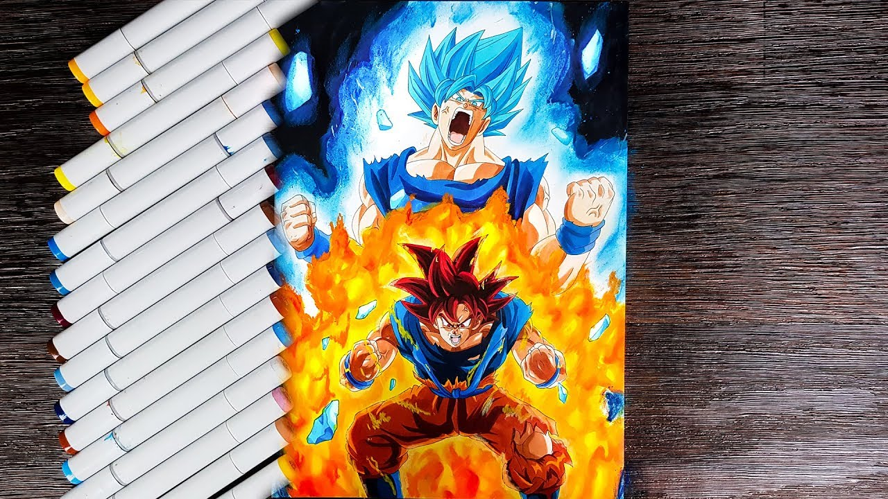 Drawing Goku Super Saiyan God Blue Strength Beyond Gods
