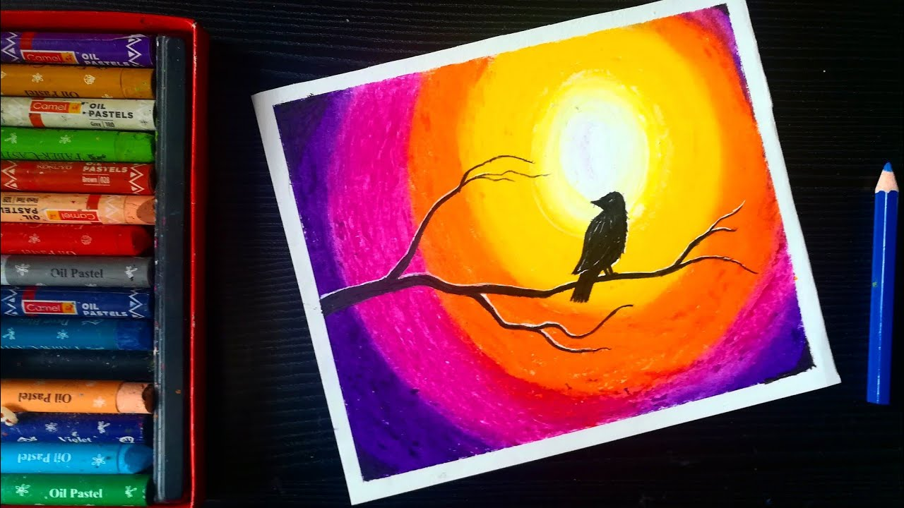 Sunset bird scenery oil pastel drawing | easy oil pastel drawing