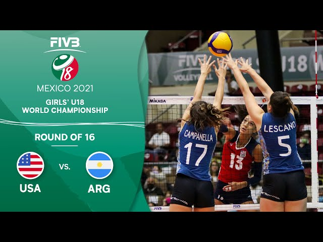 LIVE 🔴 USA vs. ARG - Round of 16   Girls U18 Volleyball World Champs 2021