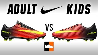 Adult v kids vapor xi | nike jnr & children's mercurial football boots comparison