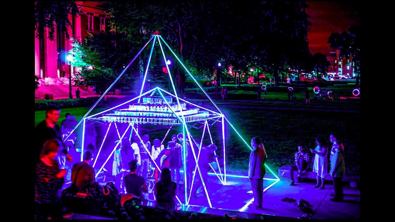 Rainbow Pyramid Light Art Installation By Philip Noyed