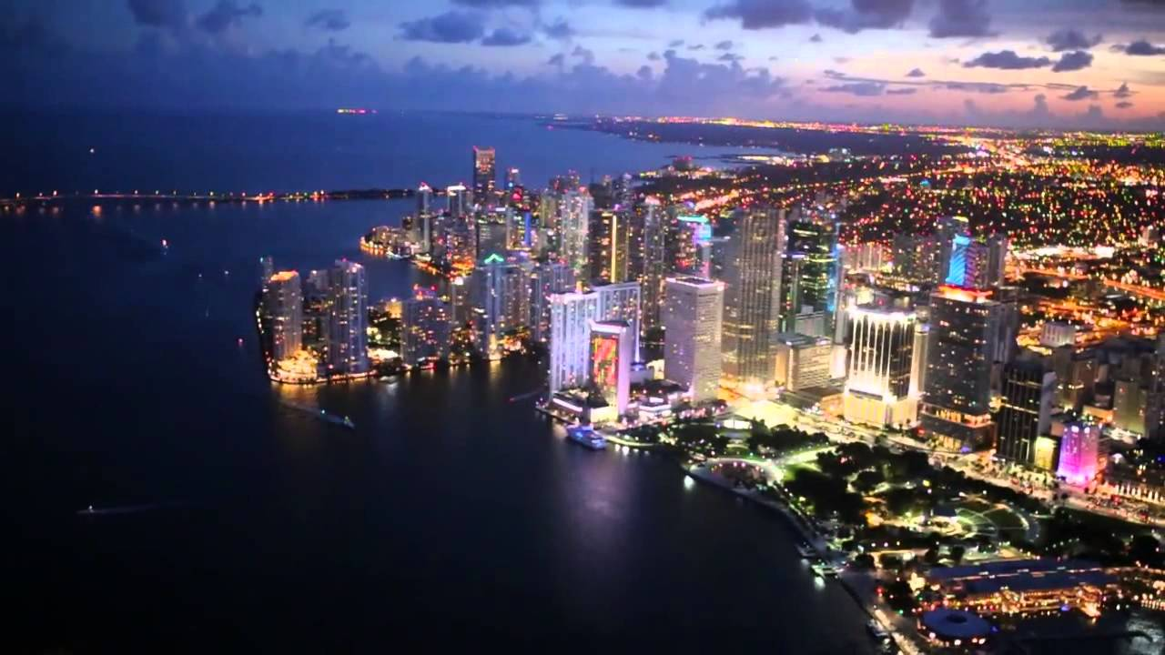 Flying at night in Miami - Miami Aerial Photo - YouTube