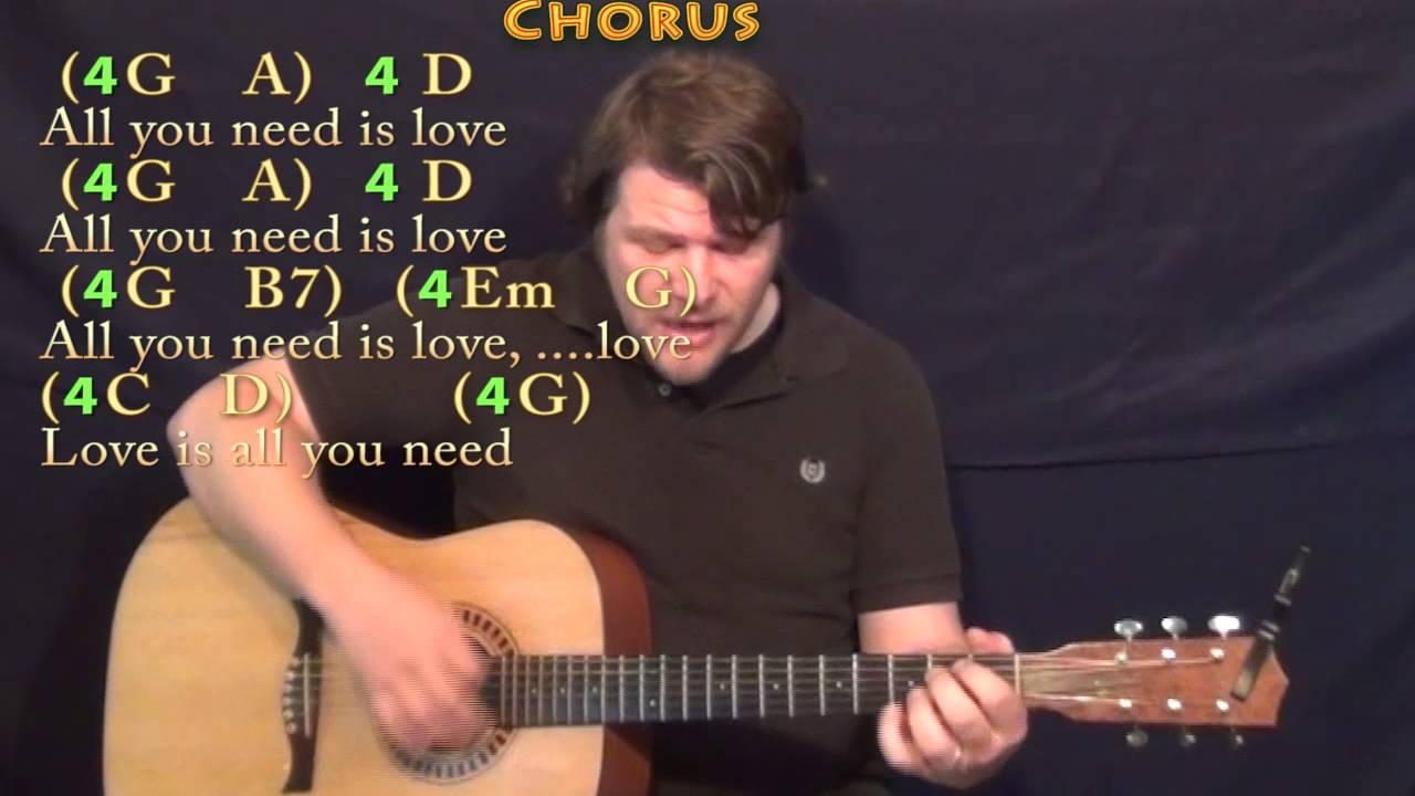 All You Need Is Love The Beatles Strum Guitar Cover Lesson With