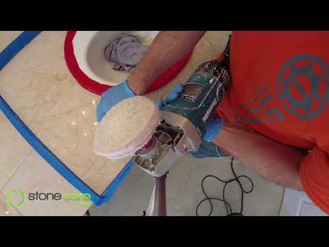 Polishing marble counters with MB-12 marble polish
