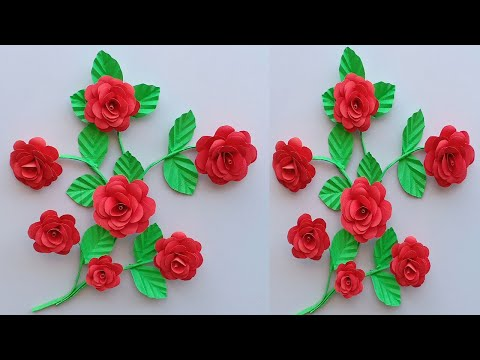 PAPER ROSE WALL HANGING | PAPER FLOWER WALL HANGING | PAPER ROSE WALL CRAFT/Creative Art