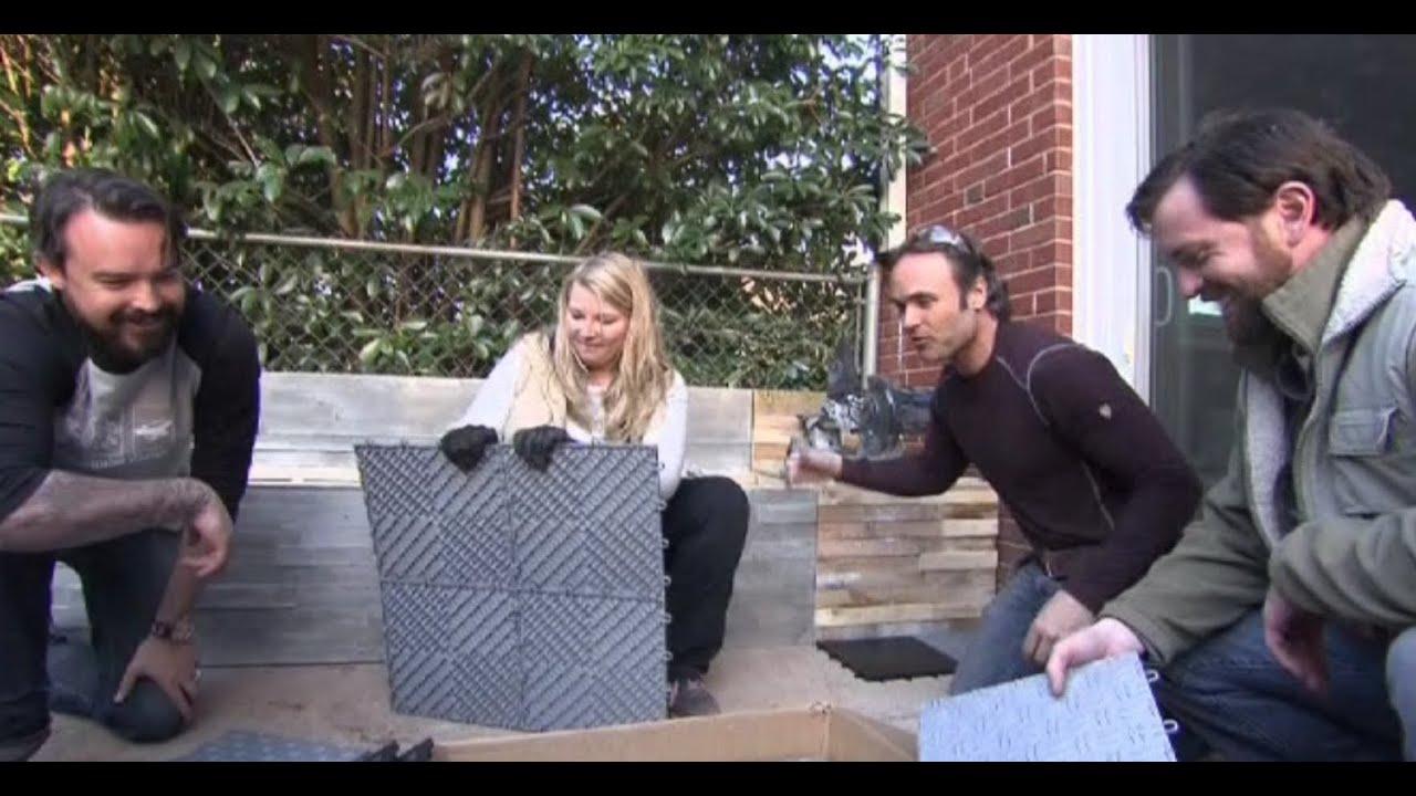 diamond grid loc tiles featured on diy yard crashers youtube