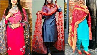 2019 Trendy Plain Suits With Heavy Dupatta Collection || Plain Suits with Printed Dupatta Ideas..