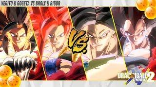 Battle of Super Saiyan 4! VEGITO & GOGETA VS BROLY & RIGOR | Dragonball Xenoverse 2
