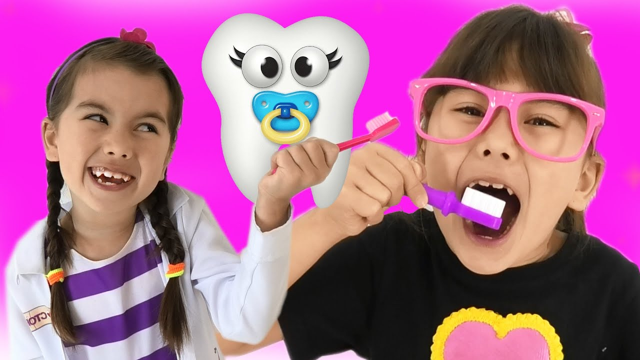 Tooth Fairy Angela as Abby Hatcher pretend play Dentist. Compilation of videos why brush your teeth?