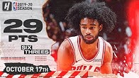 Coby White IS ON FIRE! CRAZY Full Highlights Bulls vs Hawks 2019.10.17 - 29 Points, 6 Threes!