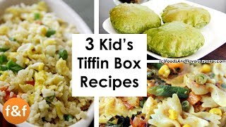 3 Kid's Breakfast and Lunch Box Recipes | टिफन बॉक्स रेसिपीज | Kids Snacks Recipes
