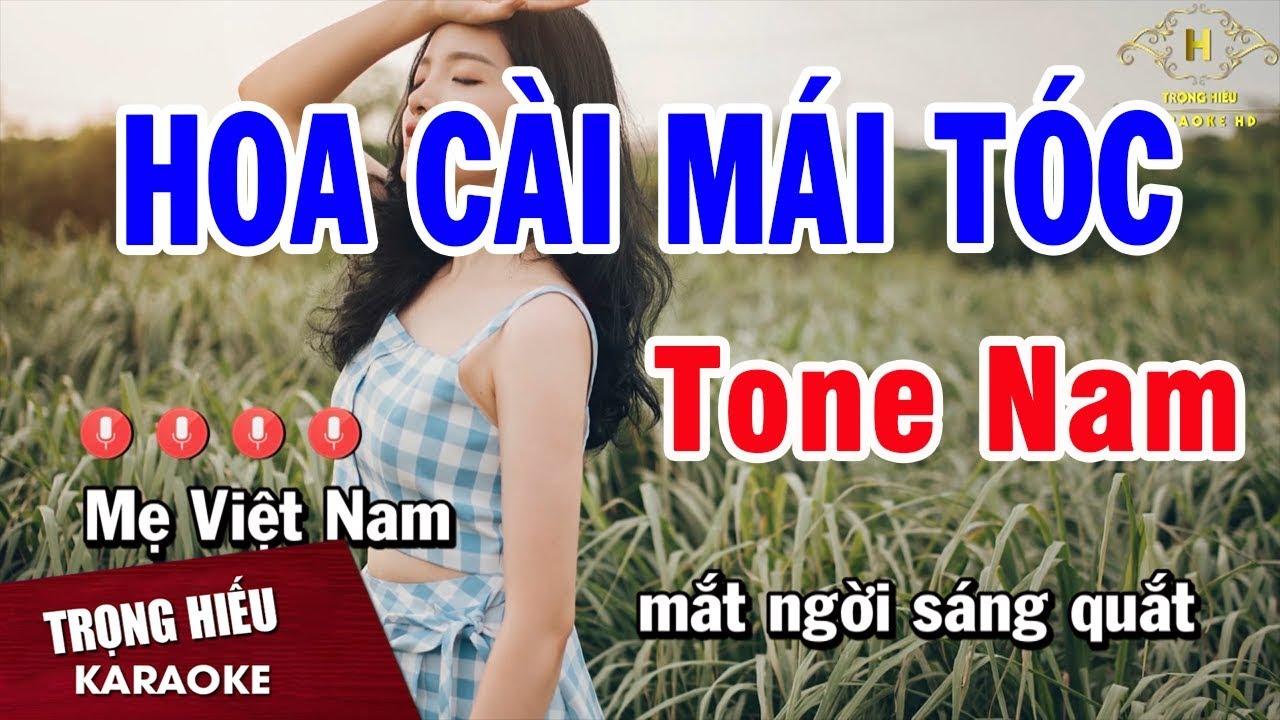 Karaoke Hoa Cài Mái Tóc Tone Nam Nhạc Sống | Trọng Hiếu
