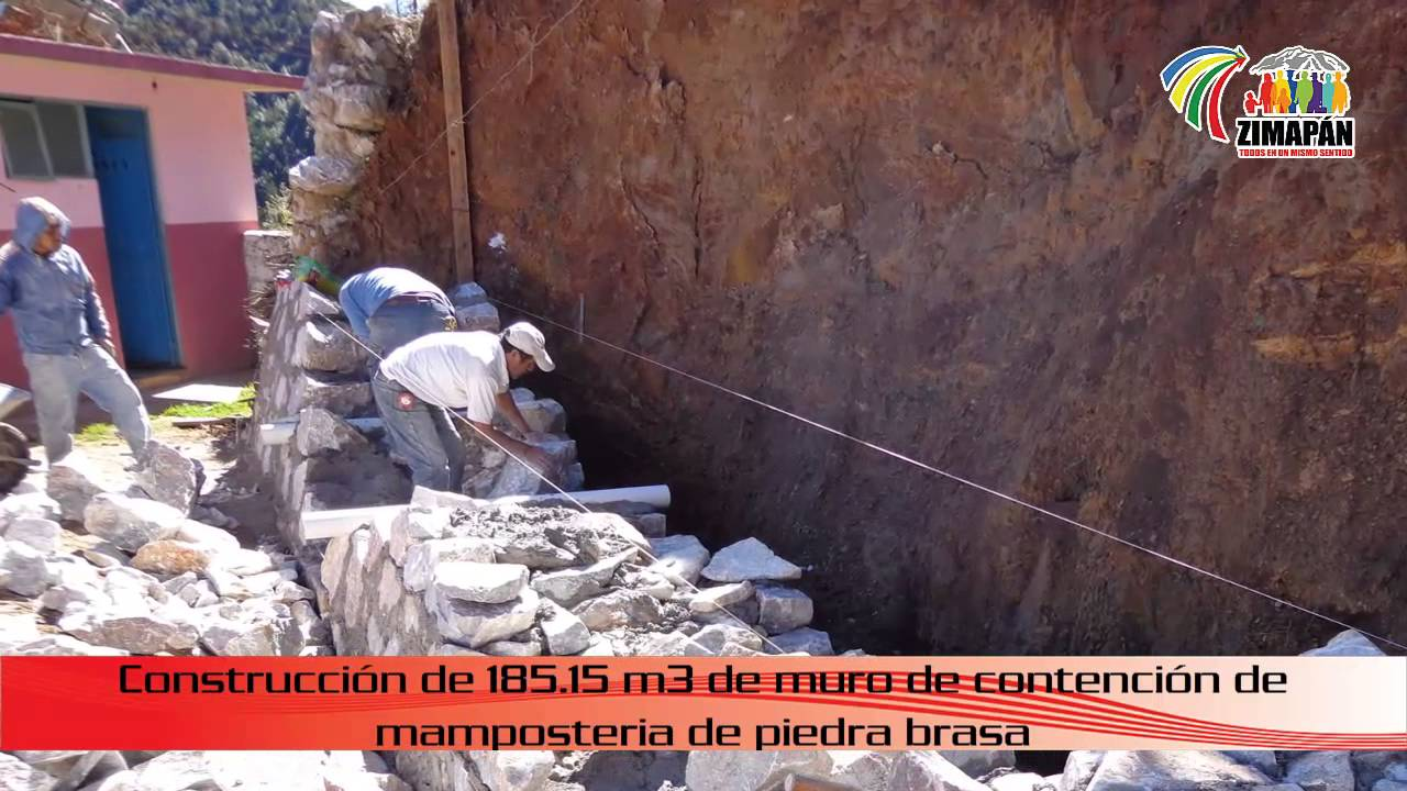 Construcci n de muro de contenci n en camposanto del oro - Muros de piedra construccion ...