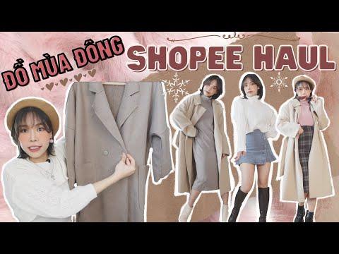 SHOPEE HAUL #4 | GIVEAWAY ĐỒ MÙA ĐÔNG | Áo len, măng tô, áo lông siêu xinh chỉ từ 171k | PART 2