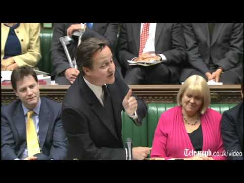 UK Prime Minister David Cameron slips up in Parliament with coalition anniversary gaffe