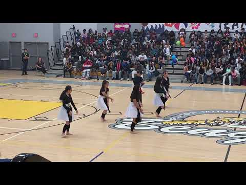 Hmong dancers at Gaston Middle school