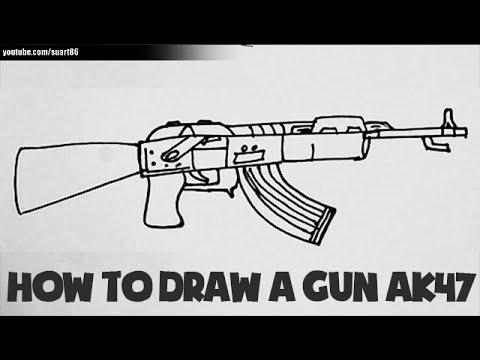 How To Draw A Gun Ak 47 Youtube
