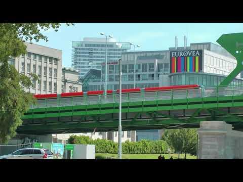 Slovakian trams crossing the Danube in Bratislava, Slovakia