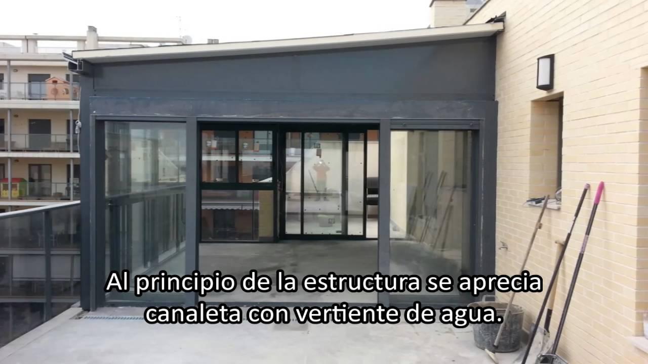 Instalaci n cerramientos de aluminio en terrazas youtube for Cerramiento aluminio terraza