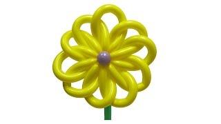 Солнечный цветок из воздушных шаров