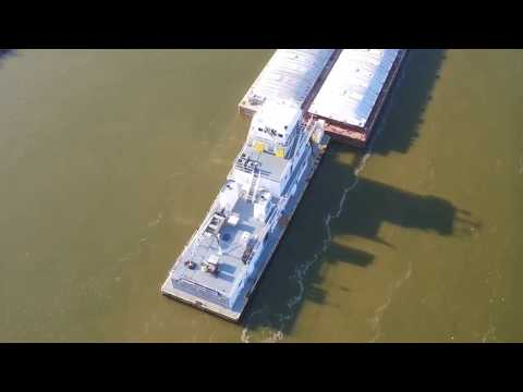 Arkansas River Barge Drone Footage