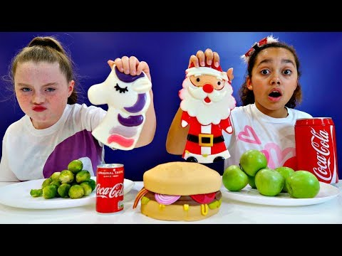 Real Food VS Gummy Food! Challenge!! Christmas Special
