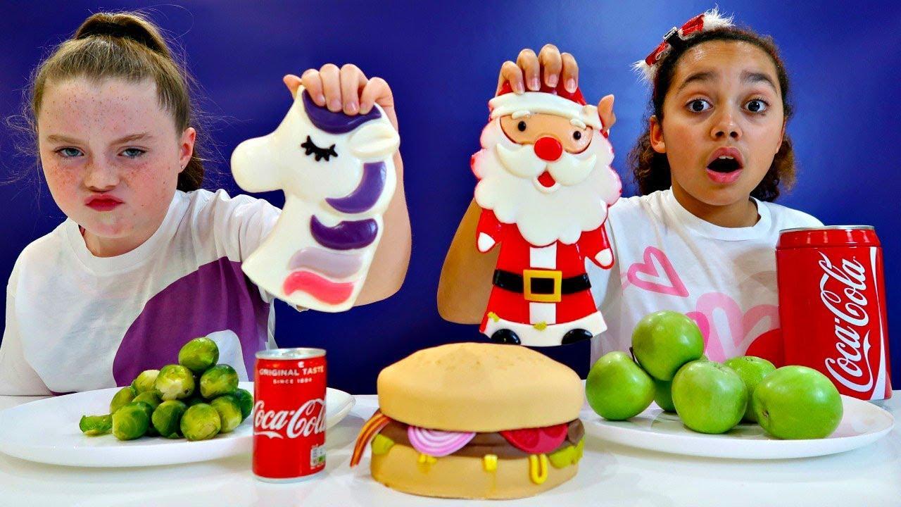 Real Food Vs Gummy Food Challenge Christmas Special