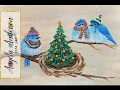 Christmas Bluebirds in Winter Hats Acrylic Painting Tutorial LIVE