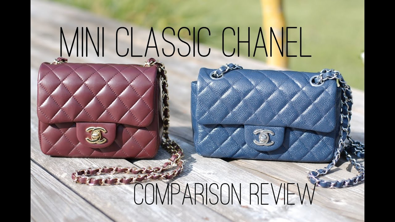 97fa579074a4 CHANEL Mini square vs. Mini rectangle handbag comparison - YouTube