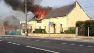 Spectaculaire incendie chez un vendeur de bouteilles de gaz, route de Mons 59600 Maubeuge Part1