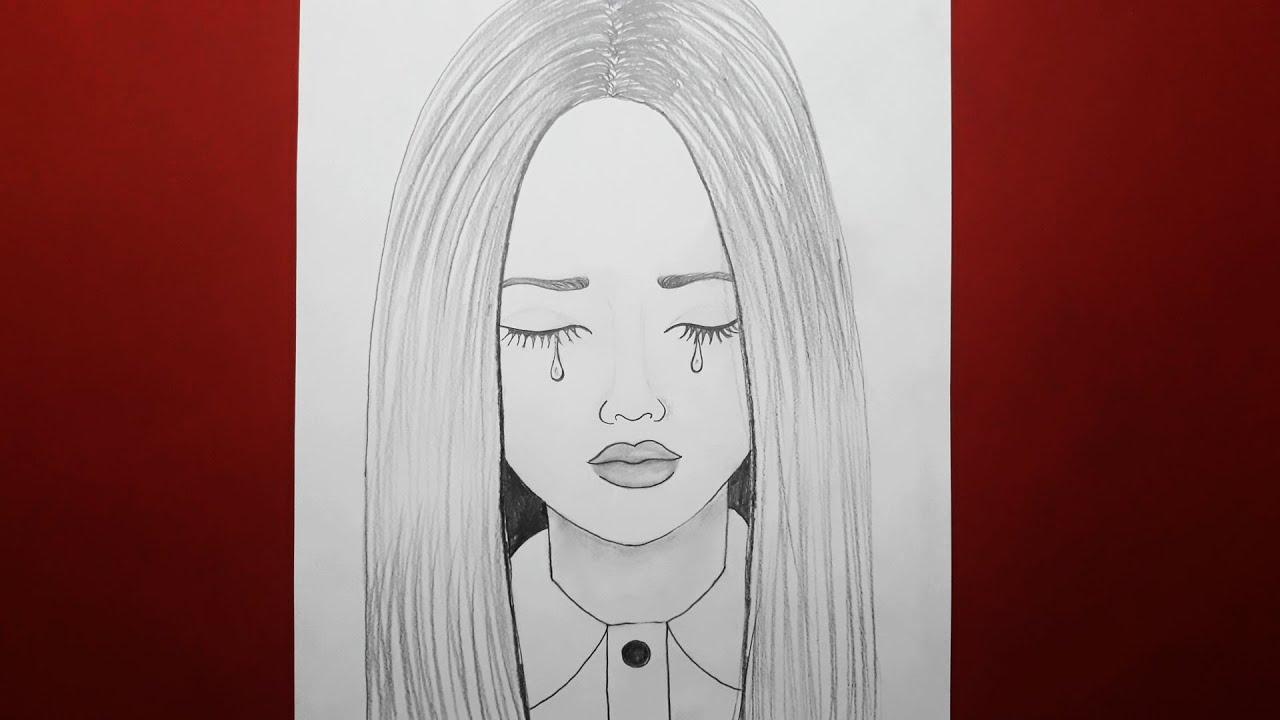 Kolay Maskeli Kız Çizimi - Güzel Bir Kız Nasıl Çizilir - Çizim Mektebi Karakalem Çizimleri 2021