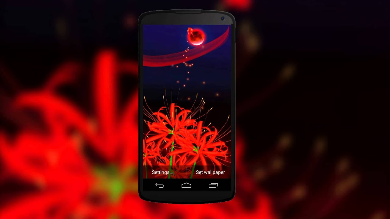 Gorgeous 3D Live Wallpaper of Red Butterflies & Red Spider Lily Flowers