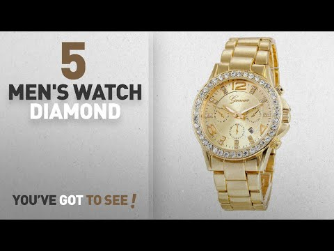 Top 10 Men's Watch Diamond [2018]: Jechin Men's Gold Watches Diamond Dial Analog Quartz Wrist Watch