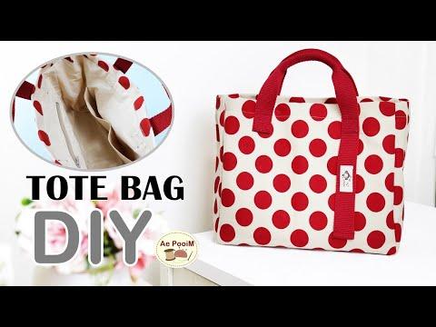 DIY SIMPLE TOTE BAG, cute hand bag   วิธีการทำกระเป๋าหูหิ้วแบบง่ายๆ