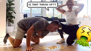 Throw up PRANK on wife!! *BAD REACTION*