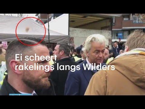 Wilders in Emmen met ei bekogeld - RTL NIEUWS