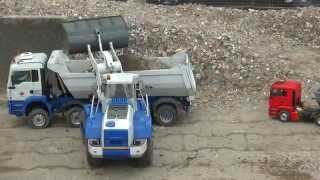 LIEBHERR RADLADER LOAD TINY TRUCK 1.24 + AROCS MAN KIPPER RC BUILD ROAD