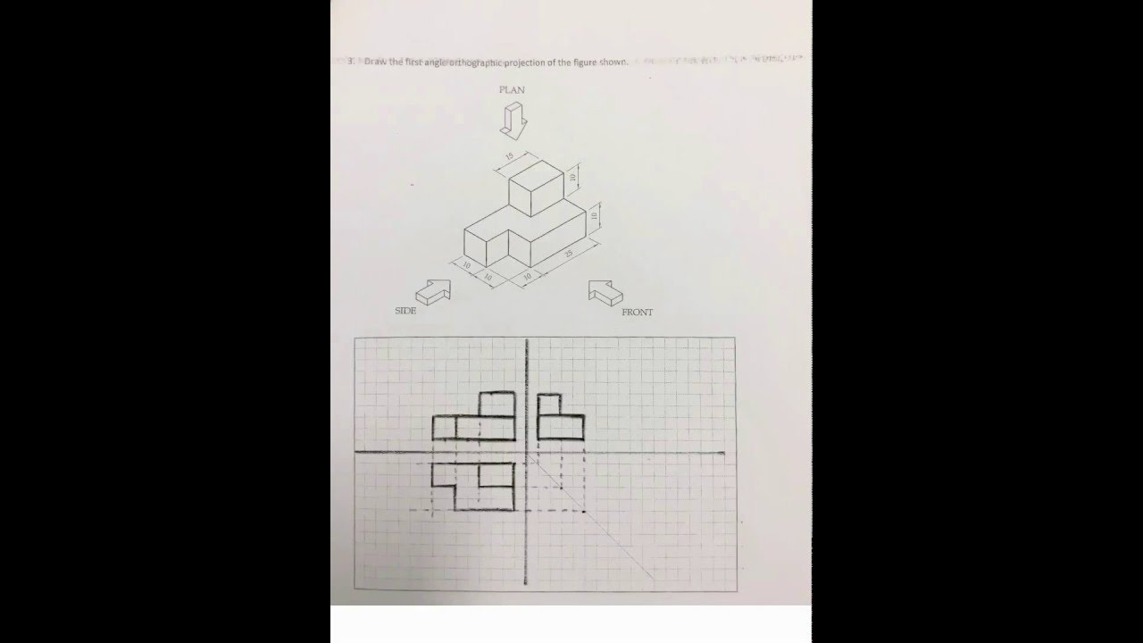 Steps First Angle Orthographic Projection Worksheet 1 Question 3 – Orthographic Projection Worksheet