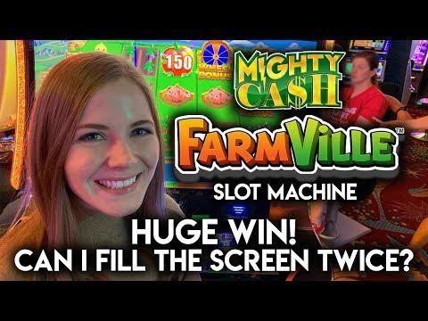 HUGE BONUS WIN! Mighty Cash Farmville Slot Machine!!