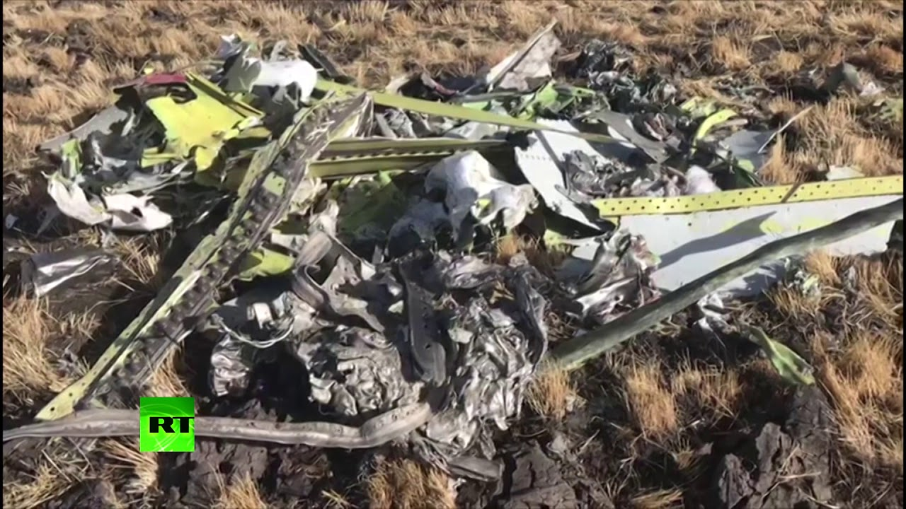 RAW: Wreckage at the crash site of the Ethiopian Airlines plane that had  157 people on board