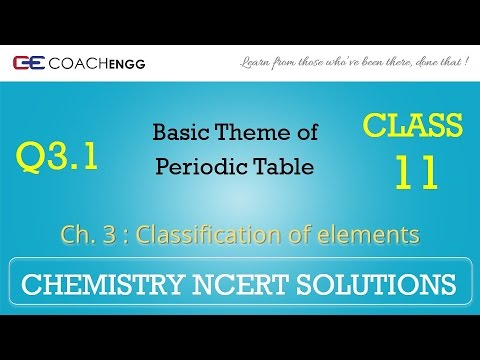 Classification of Elements Q3 1 Chapter 3 CHEMISTRY NCERT Solutions Class 11